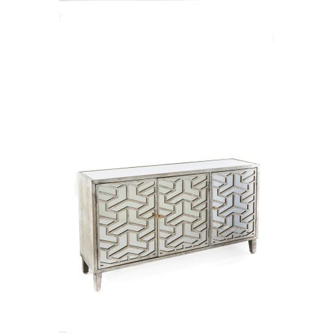 Statements By J Nicoletta Modern Mirrored Gray Sideboard, 32 Inch Tall