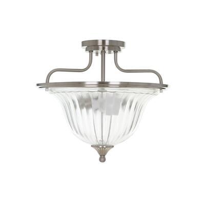"Catalina Lighting 2-Light Semi-Flushmount, LED Bulbs Included, 13"", 22336-001 - N/A"