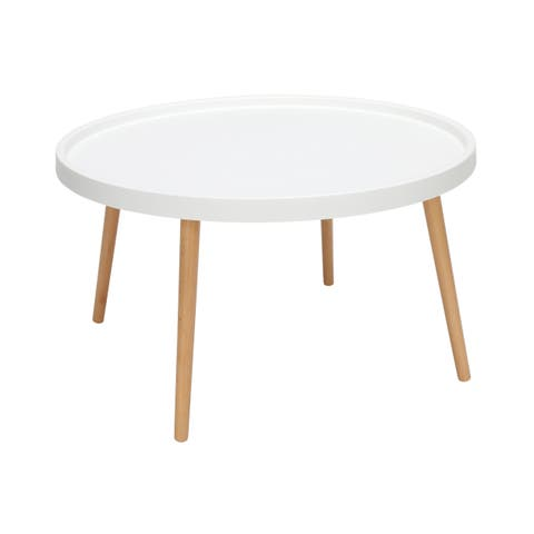 OFM 161 Collection Mid Century Modern Plastic Coffee Table, Solid Wood Legs, in White (161-PCTA-WHT)