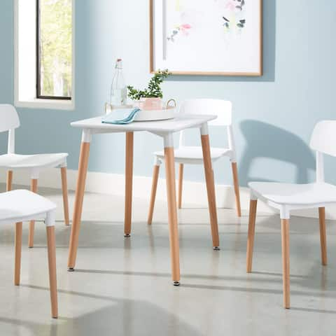 """OFM 161 Collection Mid Century Modern 24"""" Square Dining Table, Solid Wood Legs, in White (161-PT2424-WHT)"""