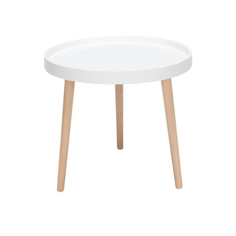 OFM 161 Collection Mid Century Modern Plastic End Table, Solid Wood Legs, in White (161-PSTA-WHT)