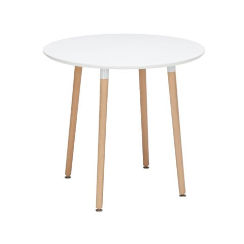 """OFM 161 Collection Mid Century Modern 32"""" Round Dining Table, Solid Wood Legs, in White (161-PT32-WHT)"""