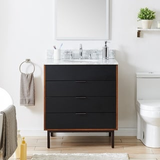Holly & Martin Tanber 30-inch Black/ Brown and Marble Single Bath Vanity