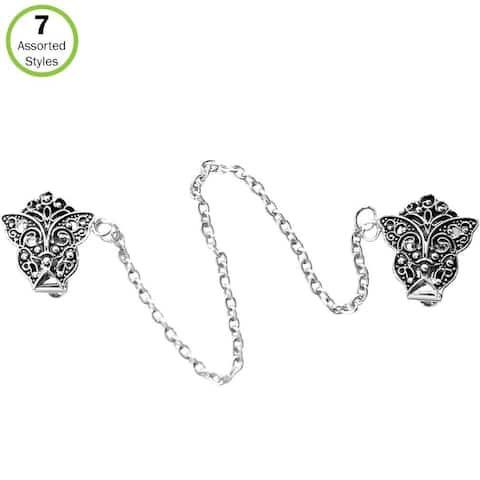 Evelots Sweater Clip-Butterfly-Collar/ Shawl-Antique Silver-Blouse