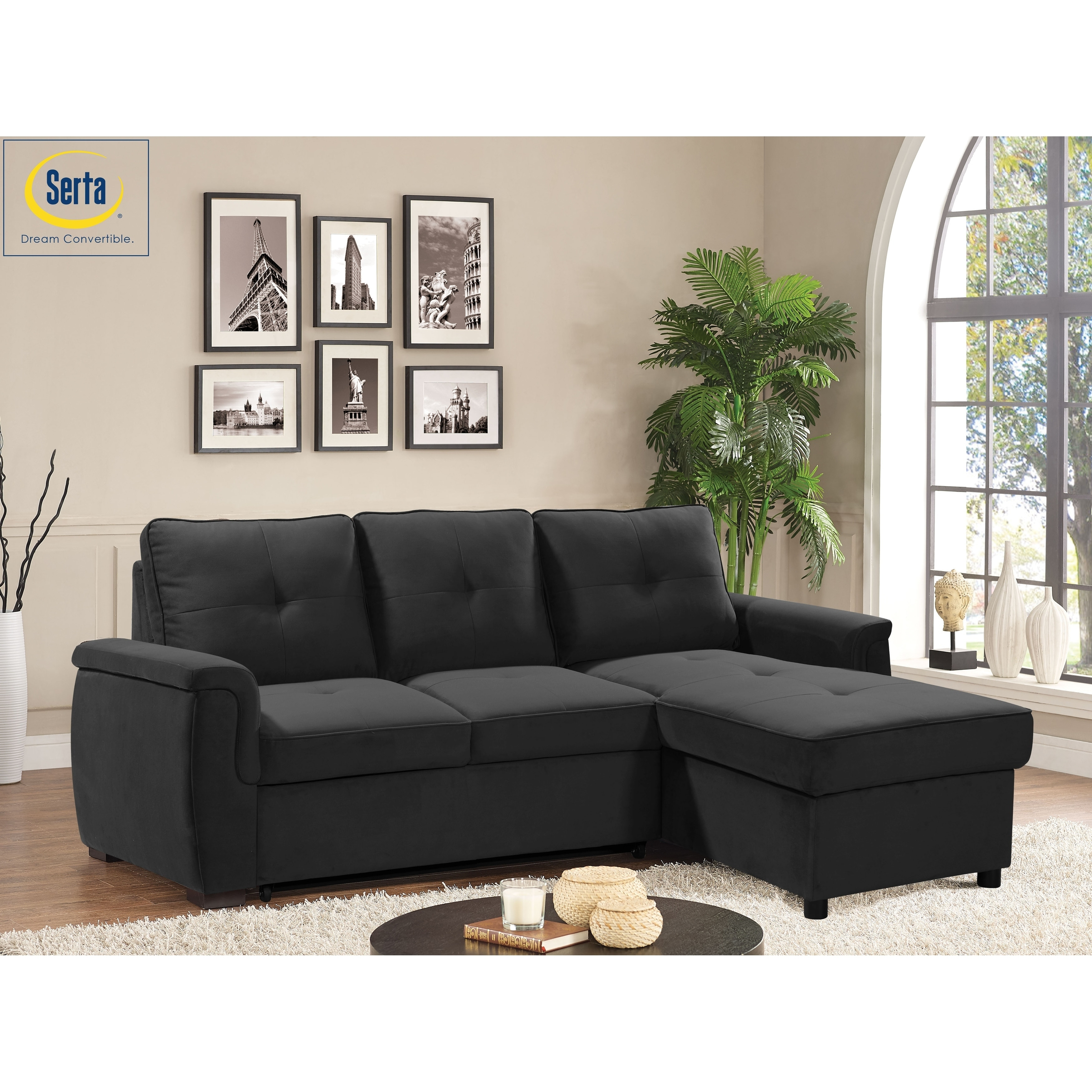 Serta® Lenox Convertible Microfiber Sectional Sofa