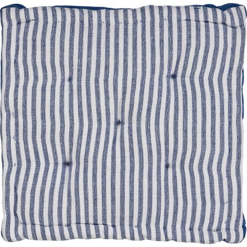 Striped Blue and Ivory Chair Cushion