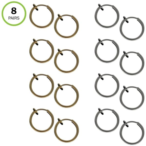 Evelots Clip On Hoop Earring-Ear/Lip/Nose-Spring Loaded-8 pair (4 Silver/4 Gold) - Set of 8