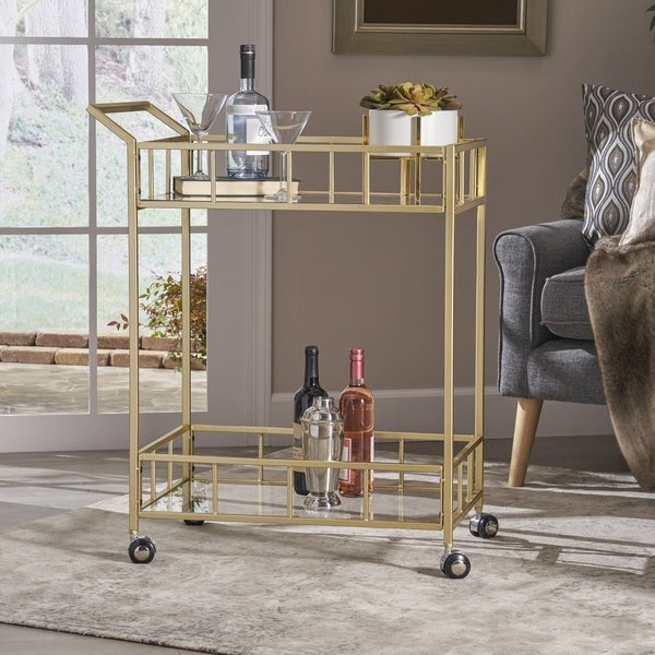 Falon Indoor Glass Bar Cart by Christopher Knight Home