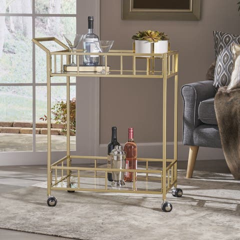 Falon Indoor Glass Bar Cart by Christopher Knight Home - N/A
