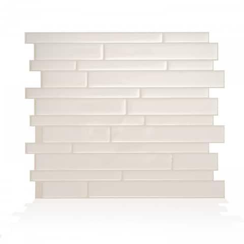 "Smart Tiles Self Adhesive Wall Tiles - Milano Avorio - 4 Sheets of 11.55"" x 9.63"" Kitchen and Bathroom Stick on Tiles"