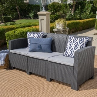 St. Paul Outdoor 3 Seater Faux Wicker Rattan Style Sofa with Water Resistant Cushions by Christopher Knight Home
