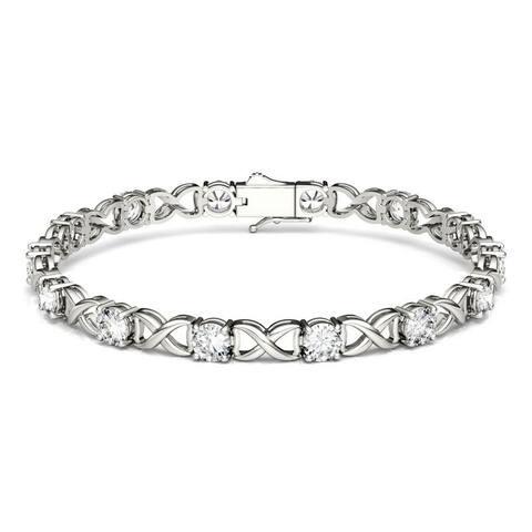 Forever One Moissanite X&O Bracelet in 14k White or Yellow Gold 7.00 TGW