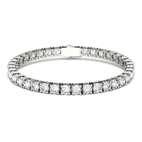 Forever One Moissanite Tennis Bracelet in 14k White Gold 18.50 TGW
