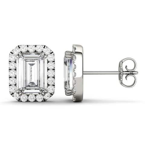 Forever One Moissanite 14k White Gold Emerald Halo Stud Earrings 3.90 TGW