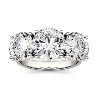 Link to Forever One Moissanite 14k White Gold Round Three Stone Ring 6.50 TGW Similar Items in Rings