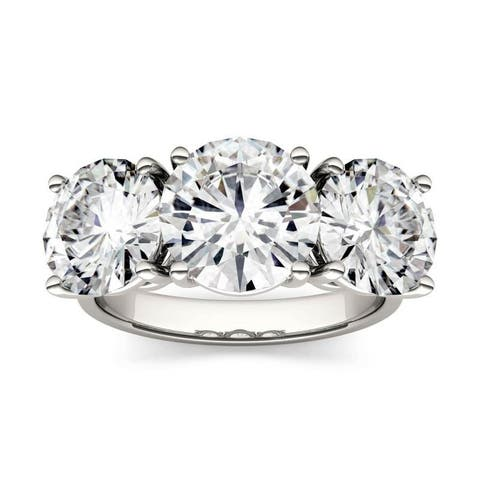 Forever One Moissanite 14k White Gold Round Three Stone Ring 6.50 TGW