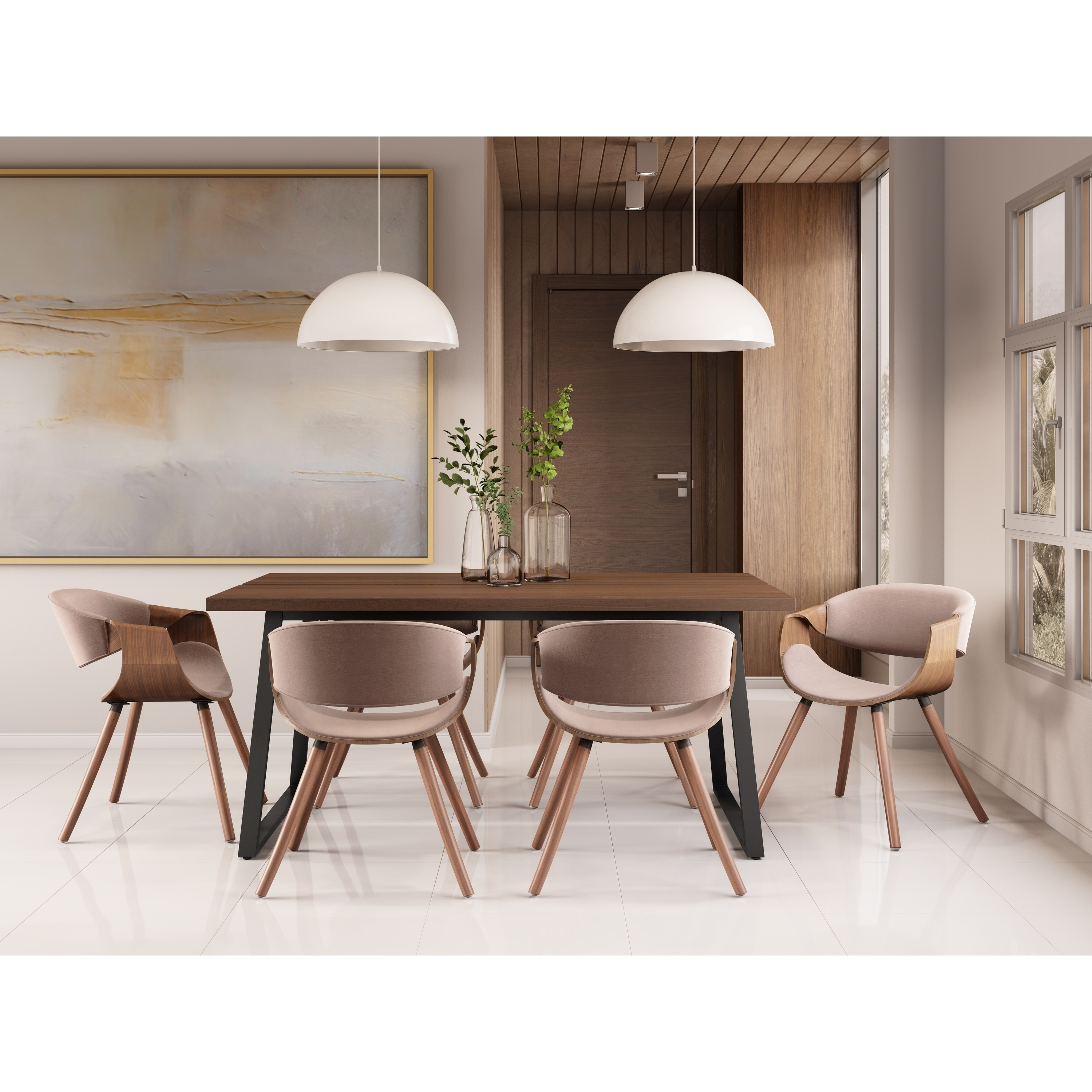 Wyndenhall Braydon Mid Century Modern 7 Pc Dining Set With 6 Upholstered Bentwood Dining Chairs And 66 Inch Wide Table Overstock 28996086