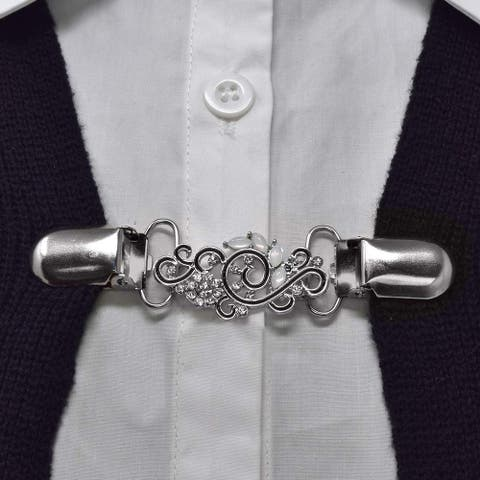 Evelots Sweater Collar Clip-Swirl Genovera-Silver-Shawl/Blouse/Dress