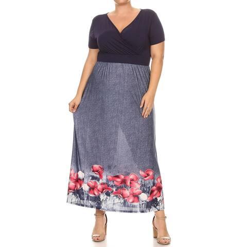 Casual Duo Fabric Surplice A-Line Pattern Plus Size Maxi Dress