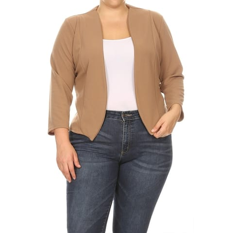 Solid Basic Casual Collarless Plus Size Outerwear Blazer Jacket