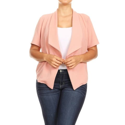 Solid Loose Fit Open Front Plus Size Jacket