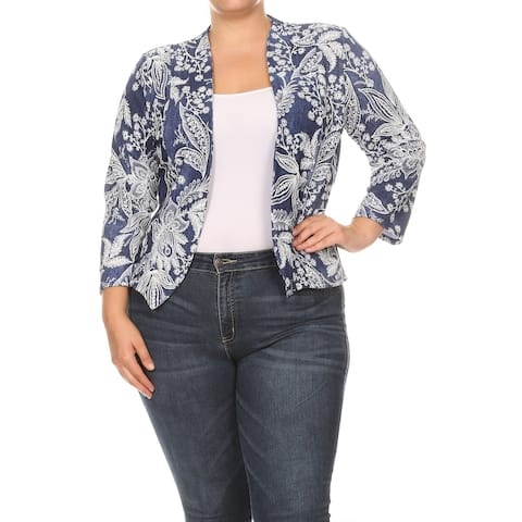 Pattern Print Plus Size Collarless Draped Plus Size Blazer Jacket