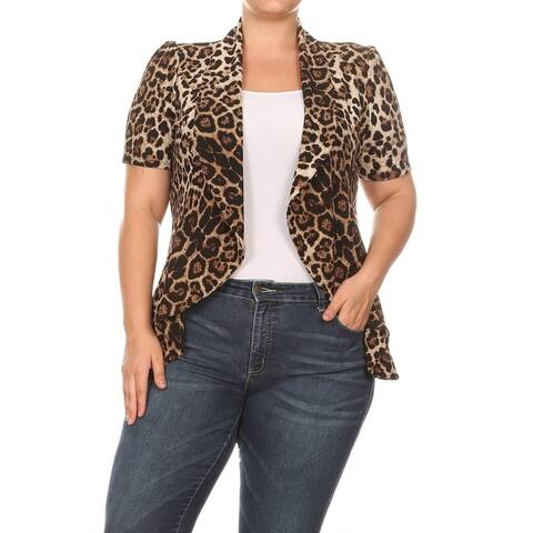 Pattern Print Plus Size Open Draped Front Outerwear Blazer Jacket