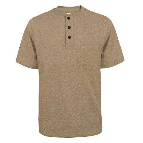 Victory Outfitters Men's Fortified Cotton Extra Length Single Pocket Crewneck Henley