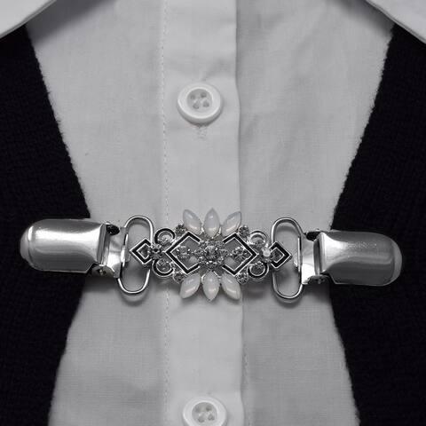 Evelots Crystal Gem Sweater Collar Clip-Cornelia-Shawl/Blouse/Dress