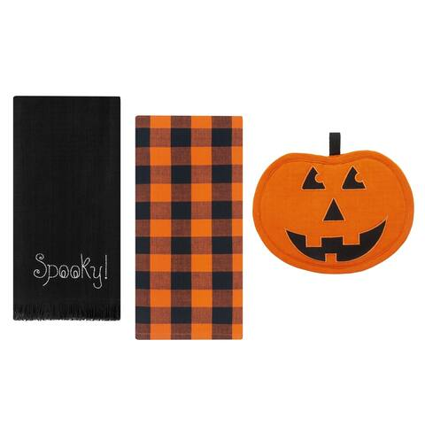 Jack-o-Lantern Pumpkin Pot Holder and Kitchen Towels, Set of 3 - 9x7;18x28