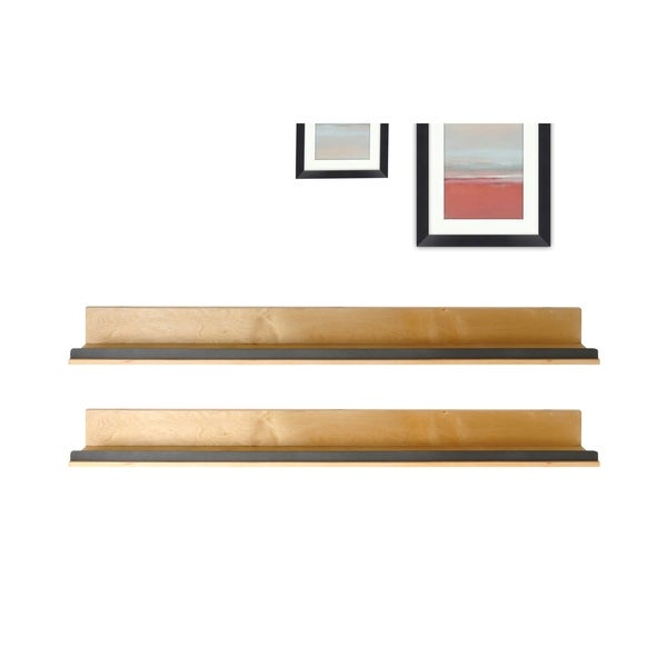 Natural Wood Shelf with Hammered Metal Accent - Set of 2