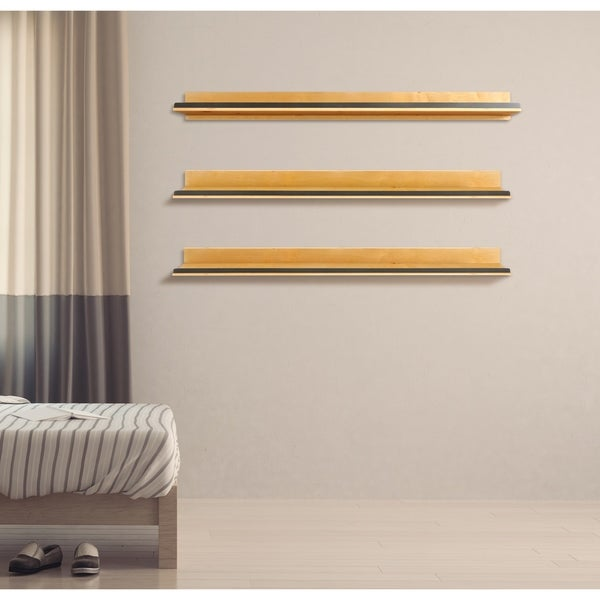 Natural Wood Shelf with Hammered Metal Accent - Set of 3