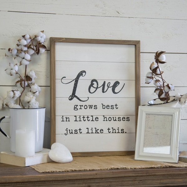 """Wood sign """"Love grows"""""""