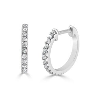 Joelle 14K White Gold & 1/10 cttw Diamond Huggie Earrings