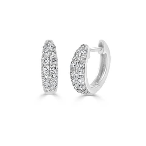 Diamond Double Row Huggie Earring 14k White Gold 3/8 ct