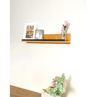 Natural Wood Shelf with Hammered Metal Accent