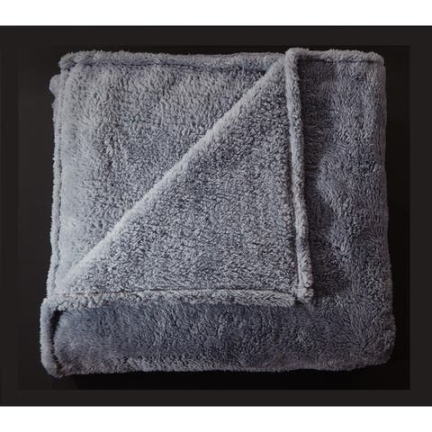 Frosty Tipped Extra-Fluffy Plush Throw Blanket