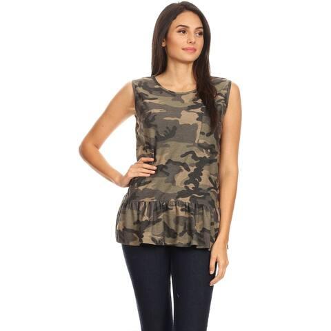 Sleeveless Pattern Comfy Casual Ruffled Bottom Shirt Tee Cami Tunic Tank Top