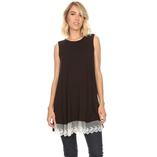 Solid Basic Casual Lace Trim Bottom Hem Tunic Tee Cami Tank Top