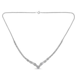 Sterling Silver 1 2ct TDW Diamond Cluster Link Necklace I J I3 Promo