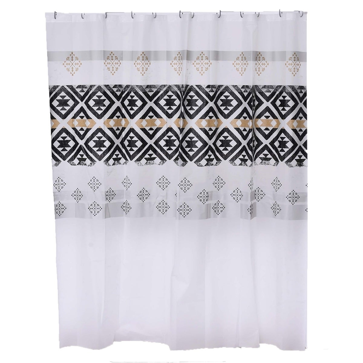 "Black//White Greek Key Seashell Pattern Polyester Fabric Shower Curtain 70/"" x 72/"""