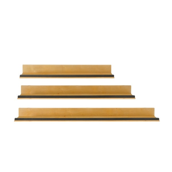 "Natural Wood Shelf with Metal Accent -- Set in 6"", 12"" and 18"""