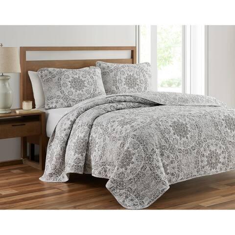Ravenna Gray 3-Piece Prewashed Quilt Set