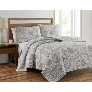 Link to Ravenna Gray Medallion Prewashed 3-Piece Reversible Quilt Set Similar Items in Quilts & Coverlets