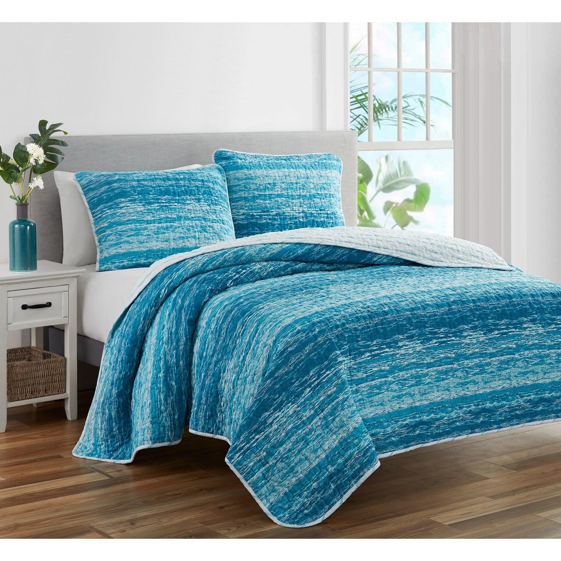Ocean Stripe Coastal Blue 3 Piece Prewashed Reversible Quilt Set On Sale Overstock 28997523