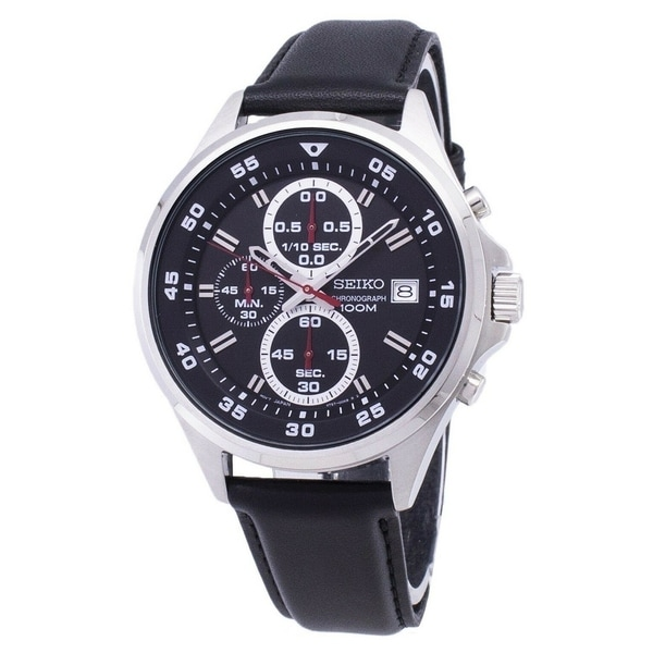 Seiko Men's SKS635 Classic Chronograph Black Leather Watch. Opens flyout.