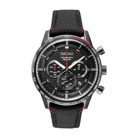Seiko Men's SSB359 Chronograph Chronograph Black Leather Watch