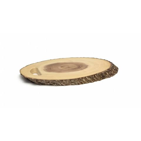 Lipper Acacia & Bark Oval Serving Tray with Handle