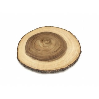 Lipper Acacia Large Slab Lazy Susan with Bark Rim