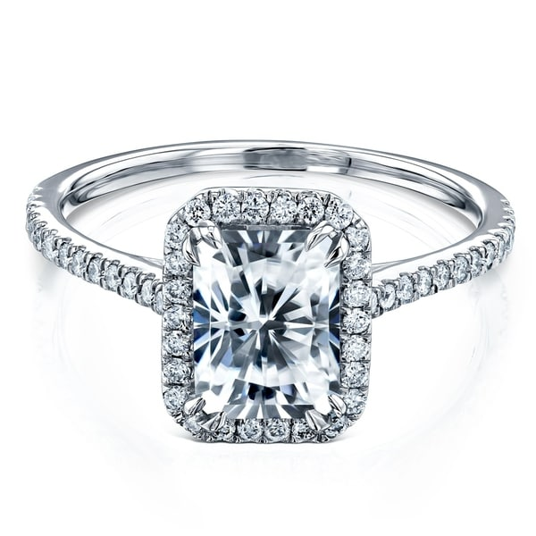 Annello by Kobelli 14k Gold 1.8ct Radiant Moissanite and Lab Grown Diamond Halo Engagement Ring (HI/VS, DF/VS). Opens flyout.